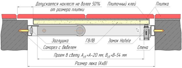 Схема монтажа люка под плитку Стил ПФ Хаммер. Люк в разрезе