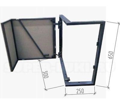 Угловой люк под плитку, внешний угол, ГВЛ по раме, Высота 670, ширина 360,310, петля слева, однодверный, на заказ по индивидуальным размерам