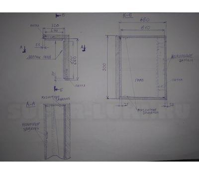 Угловой люк под плитку двухдверный внутренний угол Высота 900 Левая 320 Правая 660 на заказ по индивидуальным размерам