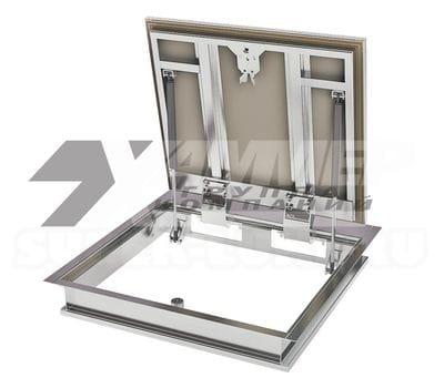 Напольный ревизионный люк модели «Бонд» ПФ ХАММЕР стальной с амортизаторами 800*800