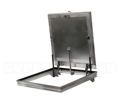 Невидимый напольный люк 700*700 с амортизаторами и фиксаторами Revizor ЛИФТ 2.0 алюминиевый, Колизей Технологий