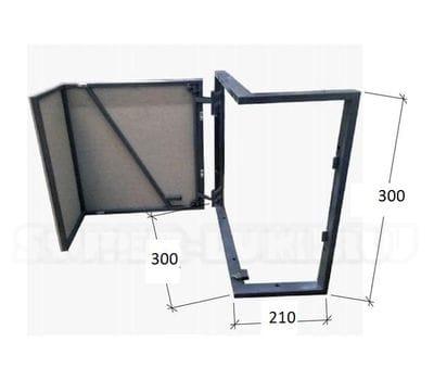 Угловой люк под плитку внешний угол ГВЛ по раме Высота 300 ширина 300 210 петля слева однодверный на заказ по индивидуальным размерам