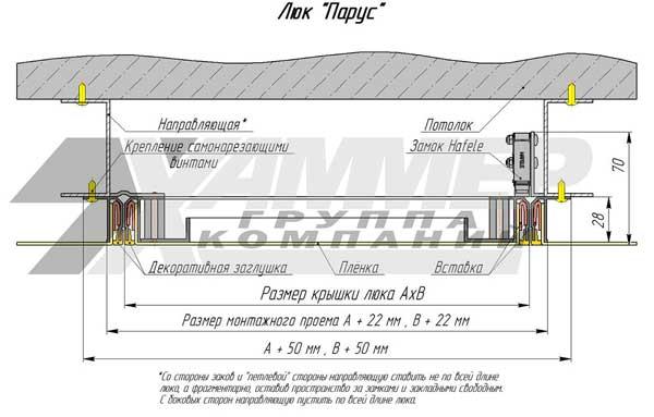 Монтажная схема люка Парус для натяжного потолка